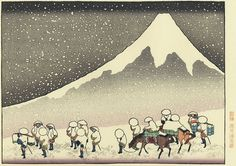 Mt Fuji in Deep Snow by Hokusai. Republished in a color version in the mid-20th century.