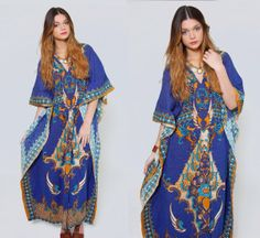 Vintage 70s BATIK Caftan Blue ETHNIC Print Cotton Maxi Dress THAI Floral  Boho Caftan Hippie Dress 914574c16