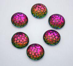 3 Round Medium Dome Glass Cabochons  Snakeskin by ThisPurplePoppy, $4.45