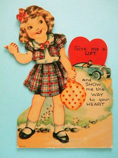 Vintage Mechanical Valentine's Day Card Girl Hitchhiking in Plaid Dress