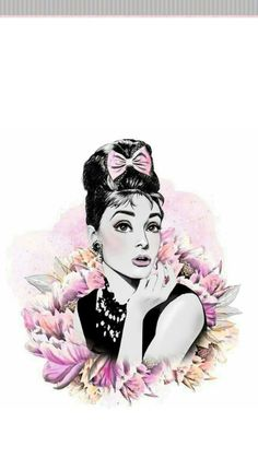 A quiet week . Audrey Hepburn Wallpaper, Audrey Hepburn Kunst, Fashion Wallpaper, Pink Wallpaper, Wallpaper Backgrounds, Illustrations, Fashion Sketches, Cute Wallpapers, Pop Art