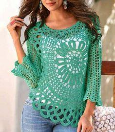 Fabulous Crochet a Little Black Crochet Dress Ideas. Georgeous Crochet a Little Black Crochet Dress Ideas. Blouse Au Crochet, Black Crochet Dress, Crochet Cardigan, Irish Crochet, Crochet Lace, Crochet Gratis, Step By Step Crochet, Crochet Woman, Beautiful Crochet