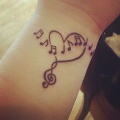 Tattoo of music notes n heart