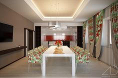 Dining Room Ideas:Elongated Dining Room Design Combine With Flower Decor Formal Diningroom Decor