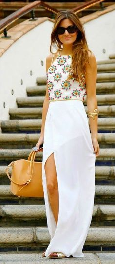 Spring Fashion 2015 | White patterned top, slit maxi skirt. ::M::
