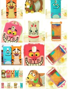 Cartoon Rubber Cat Tiger University Silicon Phone Case Cover For Samsung Galaxy Note4 N9100