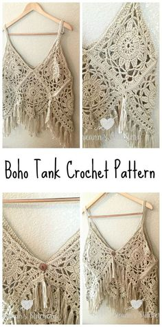 I love this fun, funky, fring-y Boho Tank Top Crochet Pattern! It's I love this fun, funky, fring-y Boho Tank Top Crochet Pattern! Crochet Gratis, Free Crochet, Knit Crochet, Crochet Summer, Crochet Ideas, Diy Crochet Tank Top, Knitted Tank Top, Crochet Motifs, Crochet Cardigan