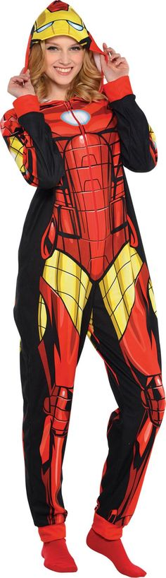 Adult Iron Man One Piece Pajama - Party City