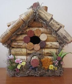 Cork+Birdhouse+Gardeners+Bird+House+Wine+by+RaggedyApple+on+Etsy