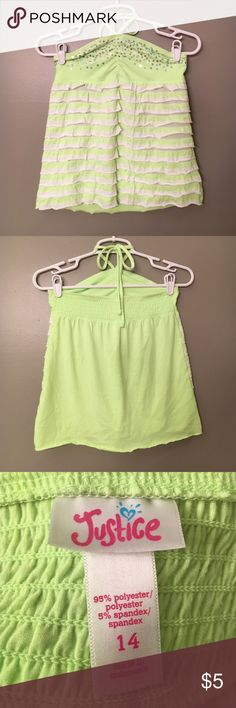 Bright Green Tank Top Bright Green • Sequins • Ruffles • Ties around Neck • Good Condition Justice Shirts & Tops Tank Tops