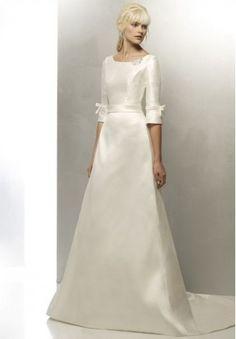 Taffeta Bateau A-line Simple Vintage Wedding Dress - Bride - WHITEAZALEA.com