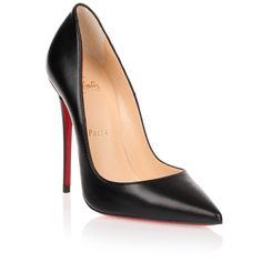 Christian Louboutin So Kate 120 Black Nappa Leather Pump ($645) ❤ liked on Polyvore featuring shoes, pumps, black, high heel pumps, black pumps, black shiny pumps, heels stilettos and black stilettos