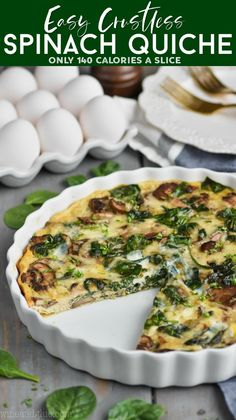 Breakfast quiche recipes - This Crustless Spinach Quiche is the perfect light breakfast! It is only 140 calories per slice With only 20 minutes of hands on time you just can't beat this spinach quiche recipe Spinach Quiche Recipes, Quiche Dish, Vegetable Quiche, Cheese Quiche, Healthy Quiche Recipes, Keto Quiche, Recipes With Fresh Spinach, Spinach Quiche Crustless, No Crust Quiche