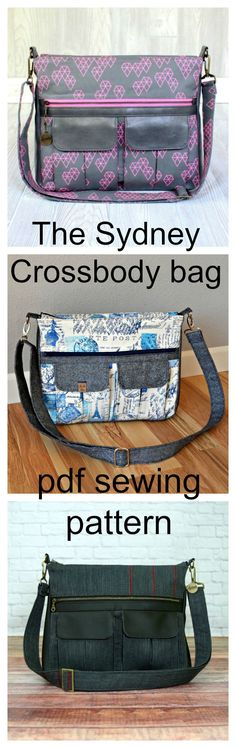 The Sydney crossbody bag pdf sewing pattern. The perfect balance of form and function, this large everyday crossbody bag is ideal for daily use. It features multiple storage options, including two pleated cargo pockets, a large zippered pocket, a back sli