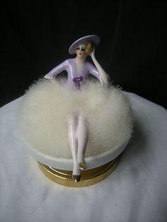 ancien poudrier femme art deco porcelaine half doll figurine lady powder puff