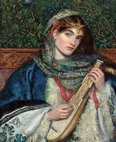 Wrap up pretty this cold Tuesday morning in a inspired by this beautiful painting by Dante Gabriel Rossetti 'The mandolin player'. Dante Gabriel Rossetti, John Everett Millais, Pre Raphaelite Paintings, John William Godward, Portraits, A4 Poster, Classical Art, Vintage Artwork, Art Plastique