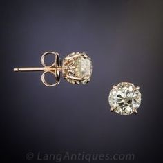 7885da682a1a 1.70 Carat Old Mine Diamond Stud Earrings in Rose Gold Broqueles