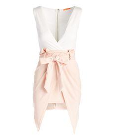 Blush & White V-Neck Asymmetrical Dress