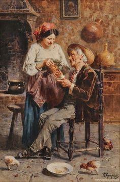 Italian artist Eugenio Zampighi (1859-1944) #Zampighi #grandfather #family