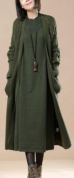101.00-boutique tea green woolen sweater cardigans wool jackets casual  Winter coat 2017  plussize 91499dbff