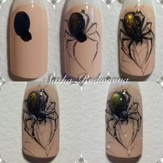 What Christmas manicure to choose for a festive mood - My Nails Holloween Nails, Cute Halloween Nails, Halloween Acrylic Nails, Halloween Nail Designs, Fall Nail Designs, Halloween Spider, Bling Nails, Stiletto Nails, Holiday Nails