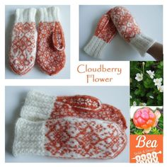 Ravelry: Cloudberry flowers pattern by StrikkeBea Fair Isle Knitting, Lace Knitting, Knit Mittens, Mitten Gloves, Casting On Stitches, Summer Sweaters, Chart Design, Learn To Crochet, Cross Stitch Patterns