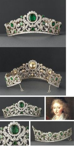 The Angouleme Emerald Tiara worn by Marie Antoinette and made by Evrard and Frederic Bapst for the French crown jewels in 1820. There are 1031 diamonds and 40 emeralds in the setting. When sold in 1887, an observer remarked that anyone who had not seen it 'does not know what an emerald is, the green stones alternate with the brilliants in such a manner that there is an interplay of coloured light, the effect of which is magical.'