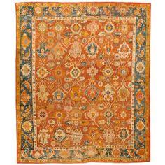 Antique Oushak Carpet X - Fred Moheban Gallery Tabriz Rug, Oushak Rugs, Rugs On Carpet, Carpets, Border Design, Persian Carpet, Handmade Rugs, Wall Tapestry, Oriental Rugs