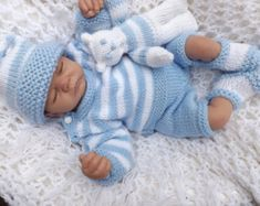 Diy Crafts - baby knitting pattern striped sweater pants hat booties and teddy prem to 2 yearsdk wool Baby Boy Knitting Patterns, Baby Sweater Patterns, Baby Cardigan Knitting Pattern, Baby Hats Knitting, Baby Patterns, Knitted Hats, Free Knitting, Pants Pattern, Crochet Pattern