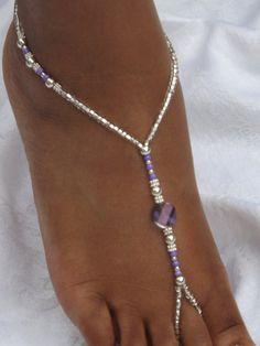 Purple Barefoot Sandal Foot Jewelry Lavender Barefoot Sandles