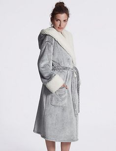 Luxury Hooded Shimmer Dressing Gown | M&S | this whole dressing gown is fluffy!