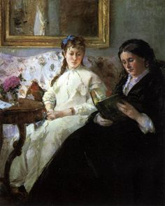 Morisot, Berthe — ImpressionismBerthe Morisot, The Artist's Mother and Sister (Reading), 1869-70, Oil on canvas, 101 x 82 cm, National Gallery of Art, WashingtonFull serie