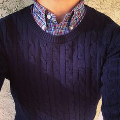 Chord sweater & grid check woven- for a classic look