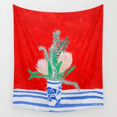 Buy Protea Still Life in Red and Delft Blue Wall Tapestry by larameintjes. Worldwide shipping available at Society6.com. Just one of millions of high quality products available.