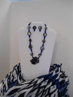 Necklace & Earring Set: Handmade Deep Blue Imperial Jasper Pendant with Aventurine and Sapphire Glass Cubes with various Shell Beads by ATouchOfT on Etsy