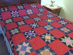 Vintage Red Quilt Top  Cotton Prints Calico & by AStringorTwo