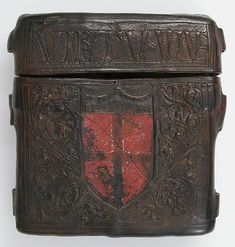 Book Box Date: 15th century Culture: Italian Medium: Cuir bouilli (tooled leather), polychromy Dimensions: Overall: 6 3/8 x 6 1/2 x 1 3/4in. (16.2 x 16.5 x 4.4cm) Classification: Leatherwork