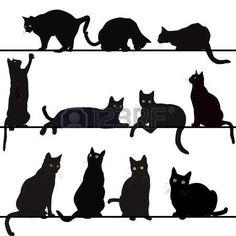 chat dessin: Jeu de chats silhouettes