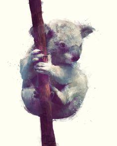Koala Art Print by Amy Hamilton   Society6 // beautiful
