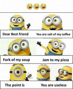 Friends quotes funny Friendship quotes funny Funny minion pictures Friends funny Funny quotes Minions quotes - A deadly combination - Funny Minion Pictures, Funny Minion Memes, Funny School Jokes, Some Funny Jokes, Crazy Funny Memes, Really Funny Memes, Minions Quotes, Funny Facts, Funny Humor