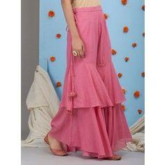Salwar pants - Old Rose Mulmul Sharara Sleeves Designs For Dresses, Dress Neck Designs, Blouse Designs, Funky Dresses, Stylish Dresses, Casual Dresses, Sharara Designs, Kurti Designs Party Wear, Designer Party Wear Dresses