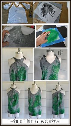 WobiSobi: No-Sew Multi-way, Summer Tank: DIY This No Sew tank is similar to a couple of other no-sew tanks I have done in the past, but is designed and cut differently and bec. No Sew Tank, Diy Tank, Diy Couture Haut, Umgestaltete Shirts, Diy Summer Clothes, Summer Clothing, Diy Clothes Refashion, T Shirt Refashion, Diy Outfits