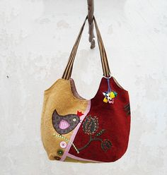 Hobo Bag in Red Green Yellow, Patchwork Bag