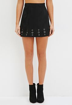 Grommet Faux Suede Skirt