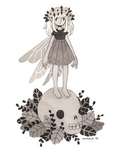 """heikala: """" Inktober day 22, Death Fairy I'm going to put up a new batch of originals on my store soon. """""""