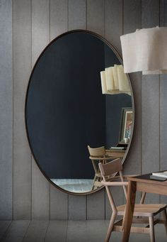 Iona grand mirror A very large mirror which can be wall-mounted or floor standing supported on an optional oak chock.