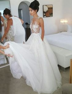 Honorable Round Neck Sleeveless Illusion Back Sweep Train Wedding Dress with Lace