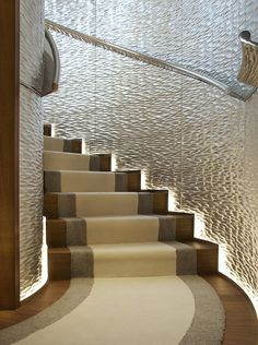 Gorgeous staircase for a Super yacht, designed by Philippe-Starck Boat Interior, Interior Stairs, Interior Photo, Interior Exterior, Luxury Interior, Interior Architecture, Interior Design, Studio Interior, Yacht Design