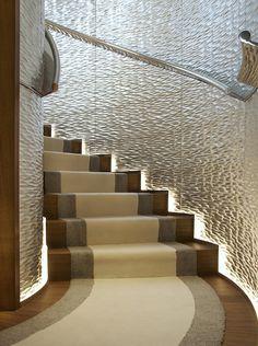 Illuminated staircase (on a yacht!). Designed by Tara Bernerd. Amazing wall
