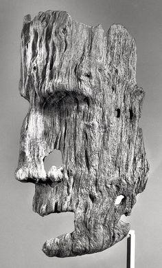 Aleut funerary mask, driftwood